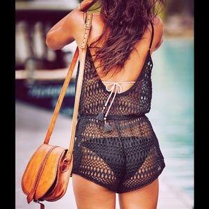 Victoria's Secret Crochet Mesh Romper Cover-up